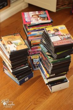 Organizing Tips on how to organized movies and save tons of space. Perfect for small spaces.