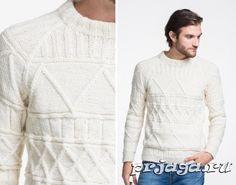 Узорчатый мужской свитер спицами в белом цвете