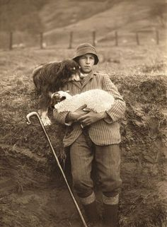 Shepherd portrait.  I don't really think this is a Scottish shepherd.  Maybe he is French, but the portrait is nonetheless poignant, and typical of the close relationships between man and beast in this occupation.