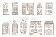 Hand-drawn houses Royalty Free Stock Vector Art Illustration