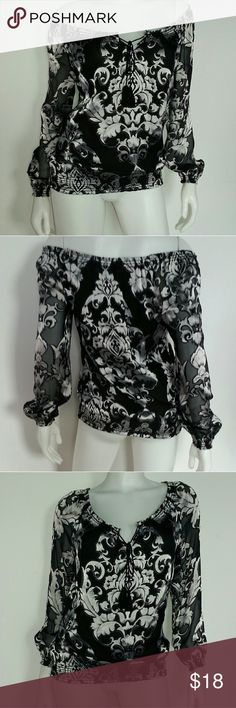 White House Black Market Sheer Off Shoulder Blouse Excellent worn condition. Super eye catching! Meant to be worn off shoulder, the neck can be cinched with the string/tassels. The whole blouse is sheer, but the body is lined. White House Black Market Tops Blouses