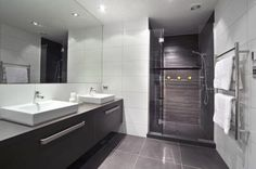 Licorice Linea vanity - white 300 x 600 walls - shower same as floor tiles