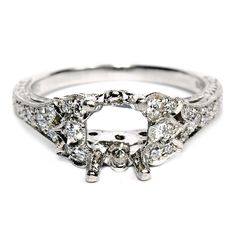 Platinum and Diamond Semi-Mount Engagement Ring $3449 #saturn_jewels #hudson_poole_jewelers