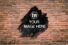 Ink Splatter Effect on Brick Wall Background Mockup Template | ShareTemplates