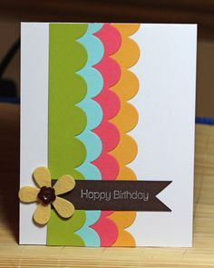 "Because I am new to cardmaking, I am always on the lookout for simple ideas. To me, this is one of those simple cards that can be used not only for birthdays, but also ""Just Because, or ""Think of You. Homemade Birthday Cards, Homemade Cards, Diy Birthday, Birthday Design, Card Birthday, Birthday Quotes, Birthday Ideas, Birthday Gifts, Bday Cards"