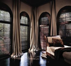 Hunter Douglas at Curtain Call Creations.  Who doesn't love the look of shutters?