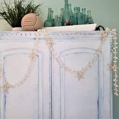 Beach decor seashell and starfish garland, perfect coastal decor for beach weddings, Christmas tree decor, beach gifts, or seashell decor.