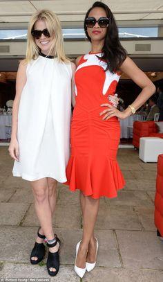 Zoe Saldana and Alice Eve at the polo