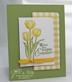 handmade card ... Blessed Easter ... Faux Gingham ... soft yellow, green and vanilla ... sweet card! ... Stampin'Up!