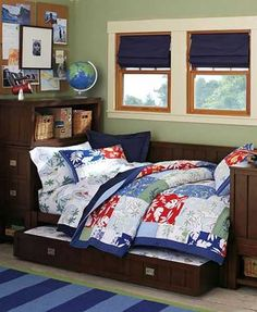 Love the Navy curtains with the wall color! Personalizing Boys Bedrooms with Decorating Themes, 22 Boy Bedroom Ideas Boys Bedroom Sets, Big Boy Bedrooms, Kids Bedroom, Bedroom Decor, Bedroom Ideas, Bedroom Retreat, Shabby Chic, Baby Furniture, Kid Spaces