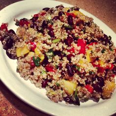 The BEST quinoa salad!  (Minor changes from the 'Biggest Loser' recipe) 2 cups cooked quinoa 1 diced mango (I add pineapple sometimes) 1/2-3/4 cup chopped cilantro 1 15-oz can black beans 1 red bell pepper chopped 5 green onions sliced 4 Tbs apple cider vinegar 2 Tbs olive oil 2-3 Tablespoon fresh lime juice Salt & pepper  **Mix everything together and refrigerate for about an hour.  YUMMY!