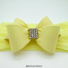 Baby Headband Light Yellow Baby Headband Baby Bow Headband