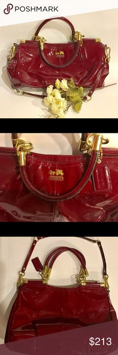 EUC.! COACH PINNACLE. Crimson Red Patent Leather❤️ Patent Leather Crimson Red COACH PINNACLE HANDBAG.! Looks practically brand new.!  Zip & accents in Gold Hardware. I purchased this bag in EUC, remains same level -has had total of Minimal Use. Nice hardware- top zip closure. Long strap detaches, short rolled leather handles. Pristine clean inner lining. 3 Inner pockets, 1 is zip.  Crimson Red patent coach hangtag. Bottom of bag shows tiny spots where there's minimal wear from light use…