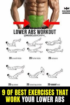 9 of Best Exercises That Work Your Lower Abs  #abs #fitness