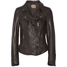 Muubaa Monteria leather biker jacket ($257) ❤ liked on Polyvore featuring outerwear, jackets, brown, leather motorcycle jacket, slim jacket, genuine leather jacket, leather jacket and pocket jacket
