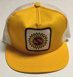 Vtg S Trucker Hat Sunflower Sun Flower Farming Agriculture Made in the USA  Cap b8fa8f236