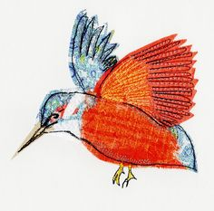 kingfisher, textile art by sarah dodd (lotus blossom)