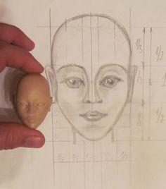 Шарнирная кукла BJD. Пропорции головы куклы.Эскиз.