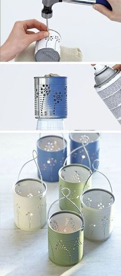 Papierboot-Girlande aus Atlasseiten {Upcycling Great to sit outside in the evening? 15 DIY ideas that will make your garden beautiful … Diy Candle Holders, Diy Candles, Pillar Candles, Beeswax Candles, Diy Candle Lantern, Candle Decorations, Tin Can Crafts, Diy Home Crafts, Diys