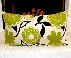 """Decorative lumbar pillow cover - 21"""" x 12"""" - Floral pillow - Green and black pillow - Accent pillow - Throw pillow"""