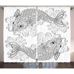 """World Menagerie Szabo Asian  Graphic Print and Text Semi-Sheer Rod Pocket Curtain Panel Size: 54"""" W x"""