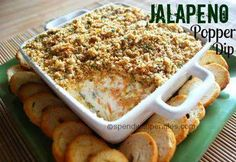 Jalapeño Popper Dip   Ingredients  1 4 oz can diced jalapenos, well drained OR 4-6 fresh jalapenos, roasted and diced (include seeds if you like it really spicy) 1 8 oz package cream cheese, softened 1 cup sour cream 2 cups shredded cheddar cheese 3/4 cup + 1/4 cup shredded parmesan cheese 1 cup Italian seasoned bread crumbs 4 tablespoons butter or margarine, melted 1 tablespoon dried parsley
