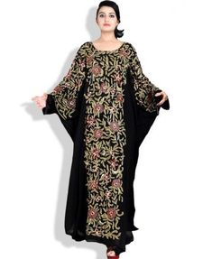 40ce6c7fcd Party Wear Maxi Chiffon Attractive Kaftan made by African Boutique with  multi color stone   beads work.