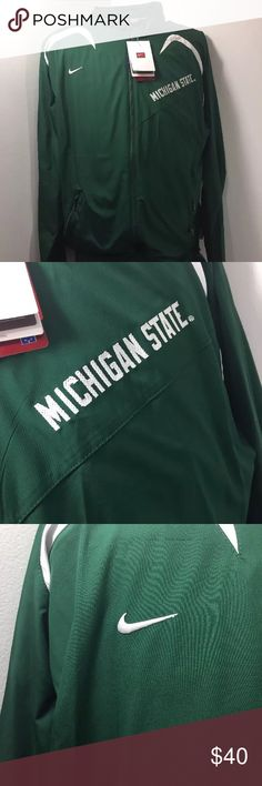 Nike Mens Medium MSU Spartans Full Zip Jacket NWT Nike Storm Mens Medium Michigan State University Spartans Full Zip Jacket NWT   Condition:  This item is Brand New With Tags! This Piece Looks Great and you will love it at a fraction of the price! If you'd like other pictures, more information, measurements, etc please feel free to ask. If you notice an issue, please contact us first before leaving negative feedback. We are only human and may make a mistake once in a while. We ship…