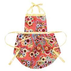 """Multicolor floral-print apron with white and yellow ties. Product: ApronConstruction Material: 100% CottonColor: GardenFeatures: Original design by Iza Pearl One size fits mostDimensions: 28.5"""" H x 25"""" W Cleaning and Care: Machine wash cold, tumble dry low"""