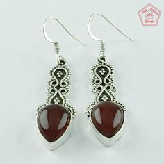 ROYAL CARNELIAN STONE DESIGN 925 STERLING SILVER EARRINGS Sz 4.5 cm E6182 #SilvexImagesIndiaPvtLtd #DropDangle