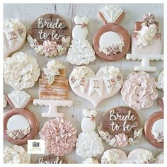 Find some good ideas for bridal shower cookies and wedding cookies to use for your wedding. Some good options for fall weddings, spring weddings and summer weddings! Elegant cookies as well as rustic Wedding Shower Cookies, Wedding Cake Cookies, Bridal Shower Cakes, Bridal Shower Rustic, Bridal Shower Decorations, Bridal Shower Gifts, Bridal Showers, Wedding Rustic, Wedding Ideas