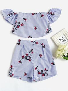 Shop Flower Embroidered Flounce Bardot Top And Shorts Set online. SheIn offers Flower Embroidered Flounce Bardot Top And Shorts Set & more to fit your fashionable needs. Teenager Outfits, Outfits For Teens, Trendy Outfits, Fashion 2018, Teen Fashion, Fashion Outfits, Ootd Fashion, Fashion Pics, Cute Summer Outfits
