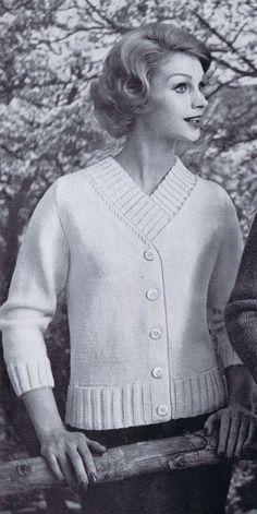 Ribbed VNeck Cardigan Vintage Knitting by VintagePatternPlace, $4.99