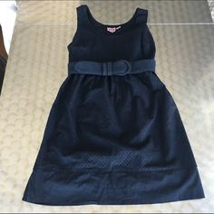Juicy Black Dot Dress w/ Belt Cute empire waist dress with black on black dots. Belt at waist. Super flattering. In perfect condition. Juicy Couture Dresses
