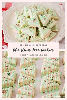 Shortbread Cookies are sweet and buttery and melt in your mouth! These Shortbread Christmas Cookies are easy to make and only require a few simple ingredients! Decorated to look like a Christmas tree, they'll be a hit all season long! Christmas Tree Cookies, Christmas Sweets, Christmas Cooking, Holiday Cookies, Christmas Deco, Christmas Time, Christmas Parties, Christmas Candy, New Year's Desserts