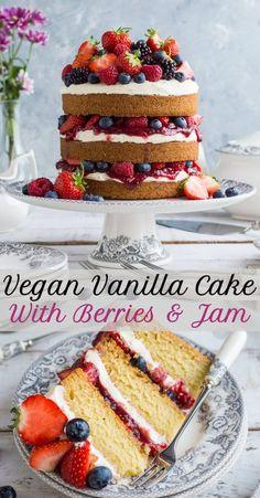 Vegan vanilla cake with berries and jam - a light, fluffy, easy vegan vanilla cake filled with vanilla buttercream, raspberry jam and summer berries. The perfect cake for afternoon tea! #vegan #veganbaking #layercake #vanilla #vegancake #plantbased #vanillacake