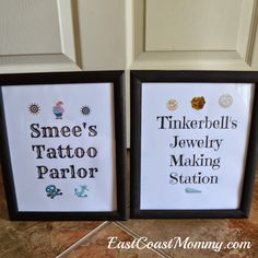 Use dollar store frames to create pirate party activity stations - great idea!