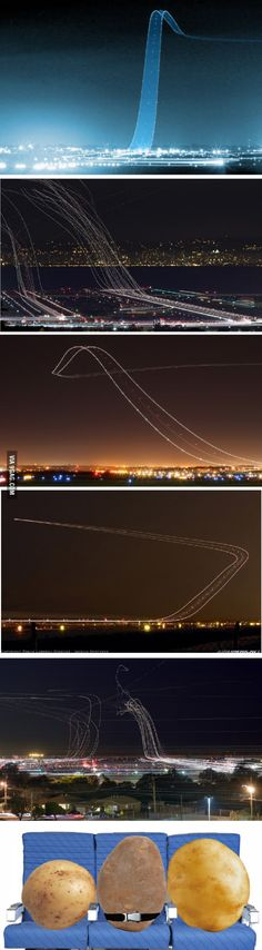 Long Exposures of Airliners taking off