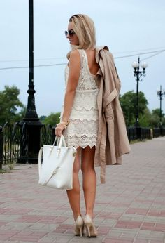 @roressclothes clothing ideas #women fashion white lace dress, beige trench coat, heels