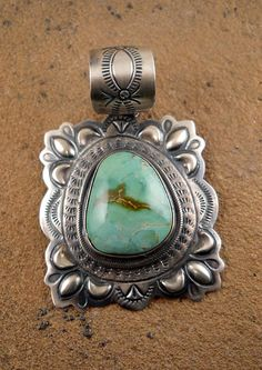 Vintage Jewelry - Pilot Mountain Turquoise Sterling Silver Pendant.    $225.00