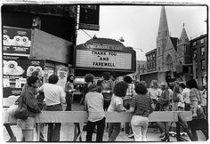 """Filmore East, their farewell marquee, June 27, 1971. From The Viewfinder, """"a look back at the Filmore East thru the photography of Amalie Rothschild who snapped pictures of some of rock & rolls most important performers"""""""