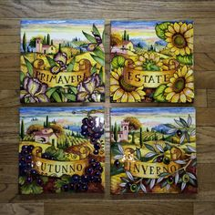 Tuscan Scenery Four Seasons Plaque - handmade and hand painted in Tuscany, Italy. A popular theme in Italian art, the four seasons, is artfully rendered in fine detail in this brightly colored hand painted Italian pottery wall plaque.  Found at the Italian Pottery Outlet in Santa Barbara CA