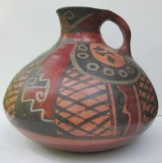 """Vintage Signed CHILEAN Native Art Pottery Jug / Vase. Signed """"Ivan"""""""