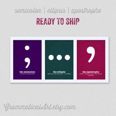 Grammar Funny Definition Prints  Set of Three by GrammaticalArt, $20.00