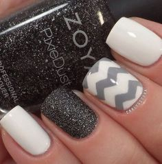 White, grey, and black nails