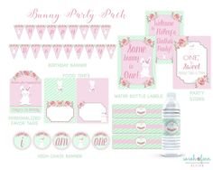 Bunny Birthday Printable Party Pack, Some Bunny is Turning One, First Birthday, Bunny Party, Bundle, Party Kit, Banner, Signs, Favor Tags by SarahFinnDesign on Etsy