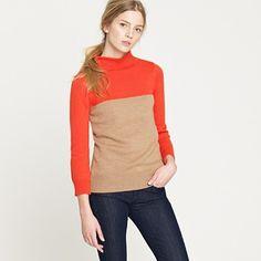 Color Block Minimalist Mockneck Sweater