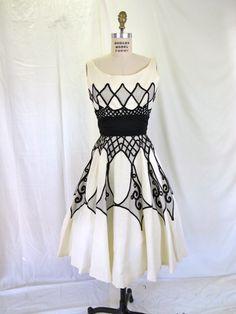 1950s Black & White Party Dress Cocktail Dress Linen Full Skirt Nipped Waist Miss Elliette