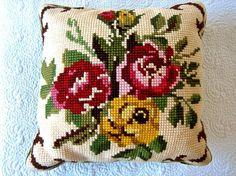 PILLOW Vintage Woven Tapestry Needlepoint SHAM Slip Cover