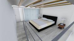 Dormitorio de un apartamento dúplex.